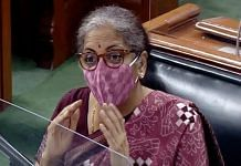 Finance Minister Nirmala Sitharaman speaks in Parliament Friday evening | Photo: ANI | LSTV