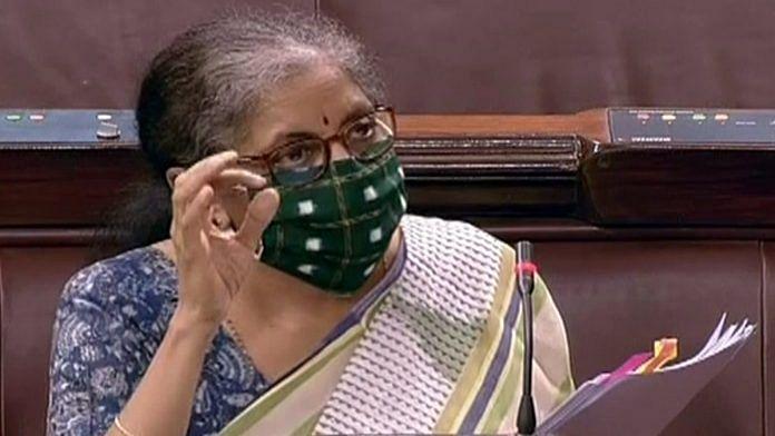 Finance Minister Nirmala Sitharaman speaks in Parliament | Photo: ANI