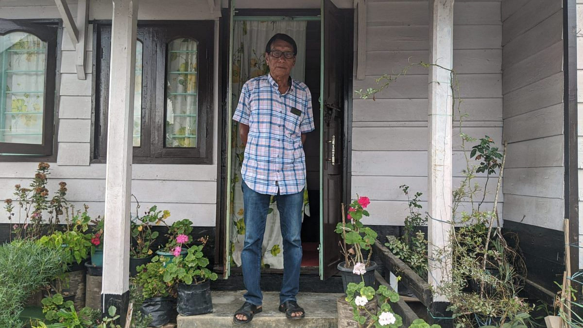 79-year-old Vareisui Muivah, the youngest sibling of Th. Muivah's, stands outside their childhood home in Somdal  | Yimkumla Longkumer | ThePrint