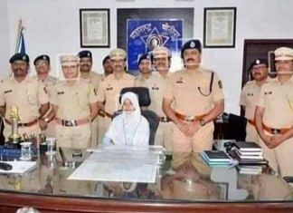 The photo of a young girl wearing a hijab and sitting in the Police Superintendent's chair is from an initiative conducted in March | Photo via Twitter