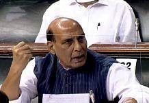 Defence Minister Rajnath Singh speaks in the Lok Sabha Tuesday | Photo: ANI | LSTV grab