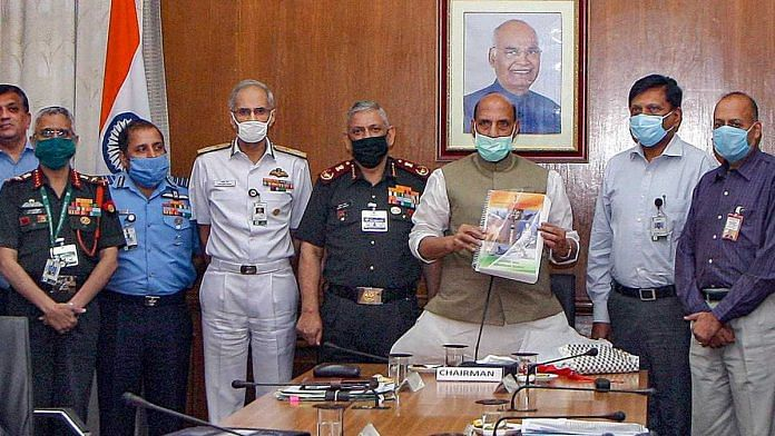 Defence Minister Rajnath Singh releases the New Defence Acquisition Procedure (DAP) at the Defence Acquisition Council (DAC) meeting, in New Delhi on 28 September 2020 | @DefenceMinIndia | Twitter