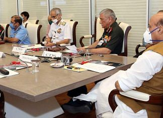 Defence Minister Rajnath Singh at a meeting with CDS Gen. Bipin Rawat, the three service chiefs and other officials (for representation)   Photo: ANI