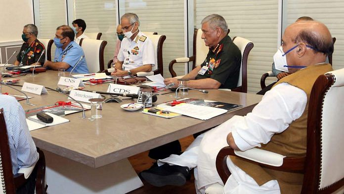Defence Minister Rajnath Singh at a meeting with CDS Gen. Bipin Rawat, the three service chiefs and other officials (for representation) | Photo: ANI