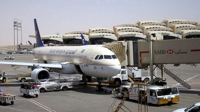 A Saudi Arabia airlines plane stands at Riyadh Airport | Commons