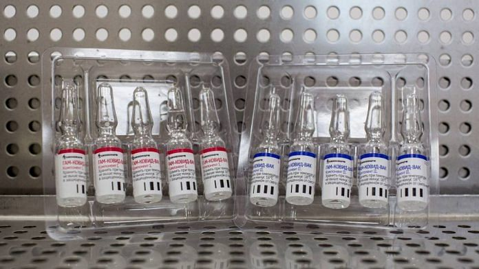 Plastic packets of ampoules containing the two components of the 'Gam-COVID-Vac' COVID-19 vaccine, trade name Sputnik V, developed by the Gamaleya National Research Center for Epidemiology and Microbiology and the Russian Direct Investment Fund (RDIF) | Andrey Rudakov | Bloomberg