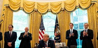 US President Donald Trump sits during a press conference on Israel and Bahrain establishing full diplomatic ties in the Oval Office of the White House, on 11 September | Photo: Anna Moneymaker | The New York Times via Bloomberg