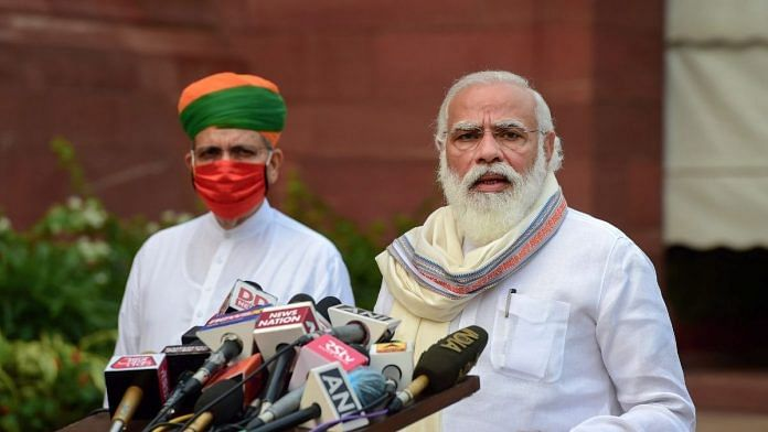 Prime Minister Narendra Modi addresses the media before commencement of the first day of Parliaments Monsoon Session, amid the ongoing coronavirus pandemic, at Parliament House in New Delhi, Monday, Sept. 14, 2020 | PTI