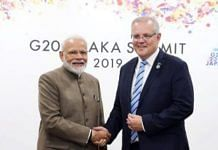 File photo of Prime Minister Narendra Modi with Australian PM Scott Morrison | For representation only | ANI