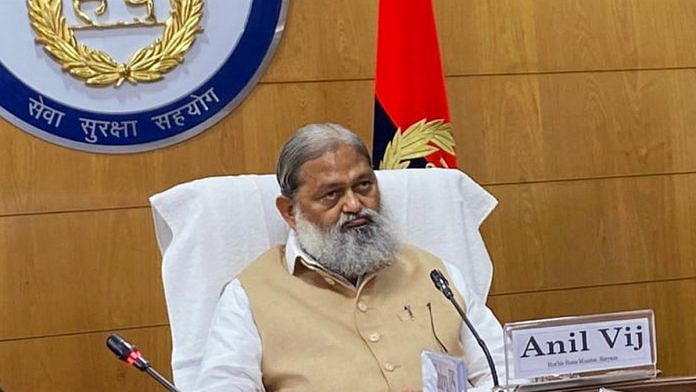 File image of Haryana Home Minister Anil Vij at the Haryana Police headquarters in Panchkula | Photo: ANI