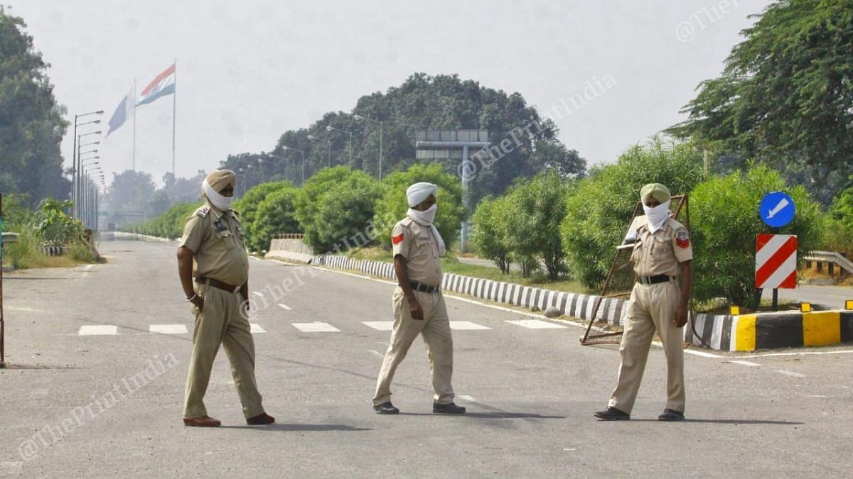 Police personnel on duty near the Integrated Check Post Point in Attari   Photo: Pravin Jain   ThePrint