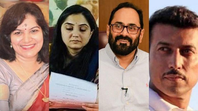 From left to right, newly appointed BJP spokespersons Aparajita Sarangi, Nupur Sharma, Rajeev Chandrasekhar and Rajyavardhan Singh Rathore. | Source: Twitter