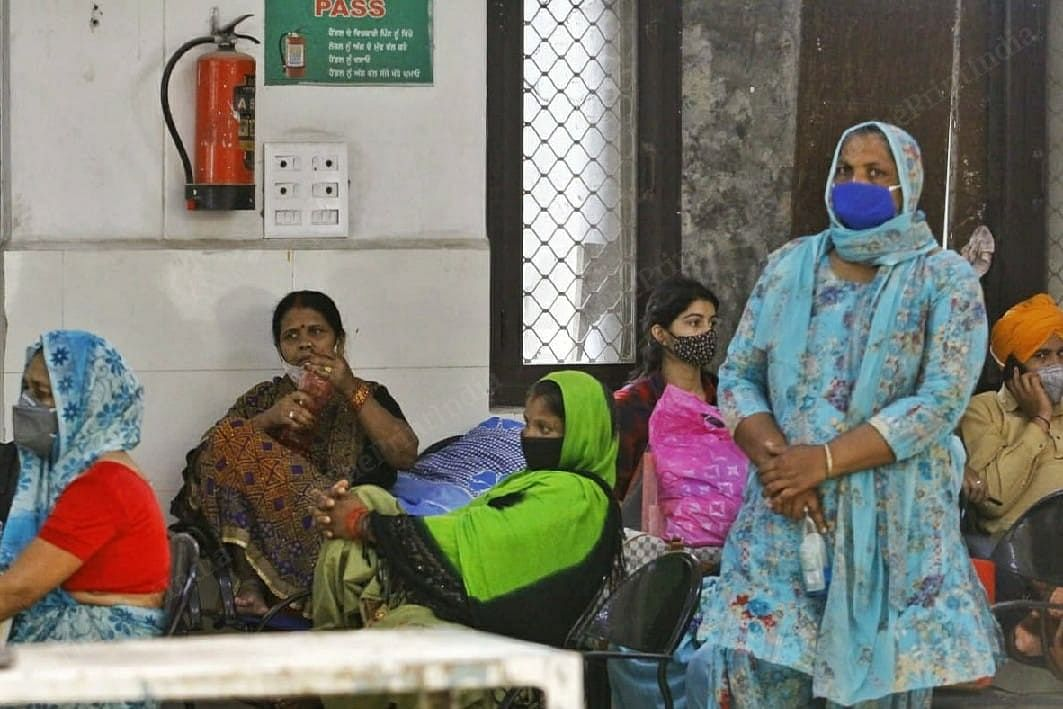 Pregnant women wait for their turn to meet the doctor at Mohali Civil Hospital, a dedicated Covid facility in Punjab's SAS Nagar district | Praveen Jain | ThePrint
