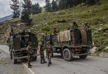 Indian army convoy carrying reinforcements and supplies, drive towards Leh, on 2 September in Gagangir | Photo via Bloomberg