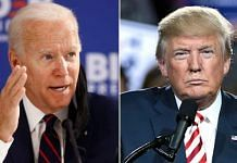 Former US vice president Joe Biden and US President Donald Trump