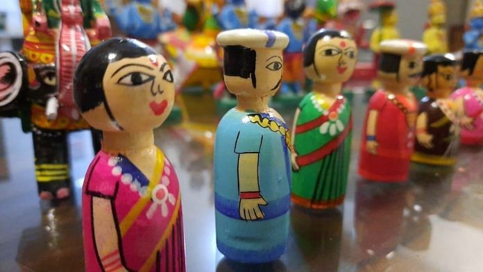Channapatna toys displayed at a store in Ramanagara district.   Photo: Rohini Swamy/ThePrint