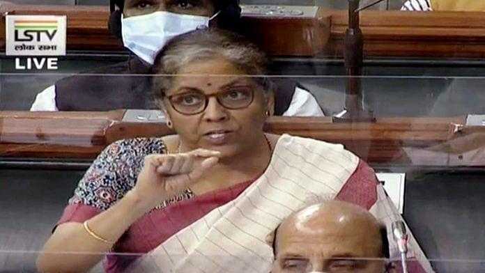 Finance Minister Nirmala Sitharaman in the Lok Sabha. | Photo: ANI