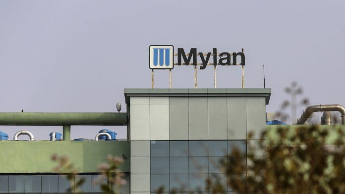 Signage for Mylan NV is displayed at the company's factory in the Maharashtra Industrial Development Corp. (MIDC) area in Nashik