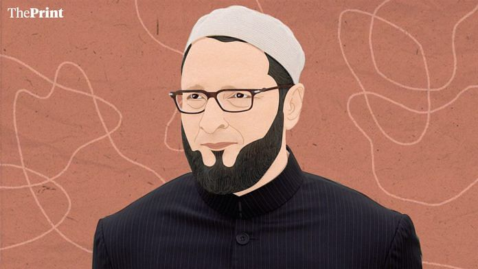 AIMIM chief Asaduddin Owaisi. | Illustration: Ramandeep Kaur/ThePrint