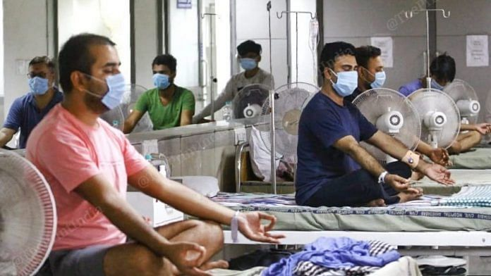 Representational image of patients meditating in a hospital ward | Photo: Praveen Jain | ThePrint