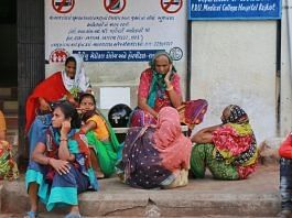Non-Covid patients' relatives wait outside the emergency ward. | Photo: Manisha Mondal/ThePrint