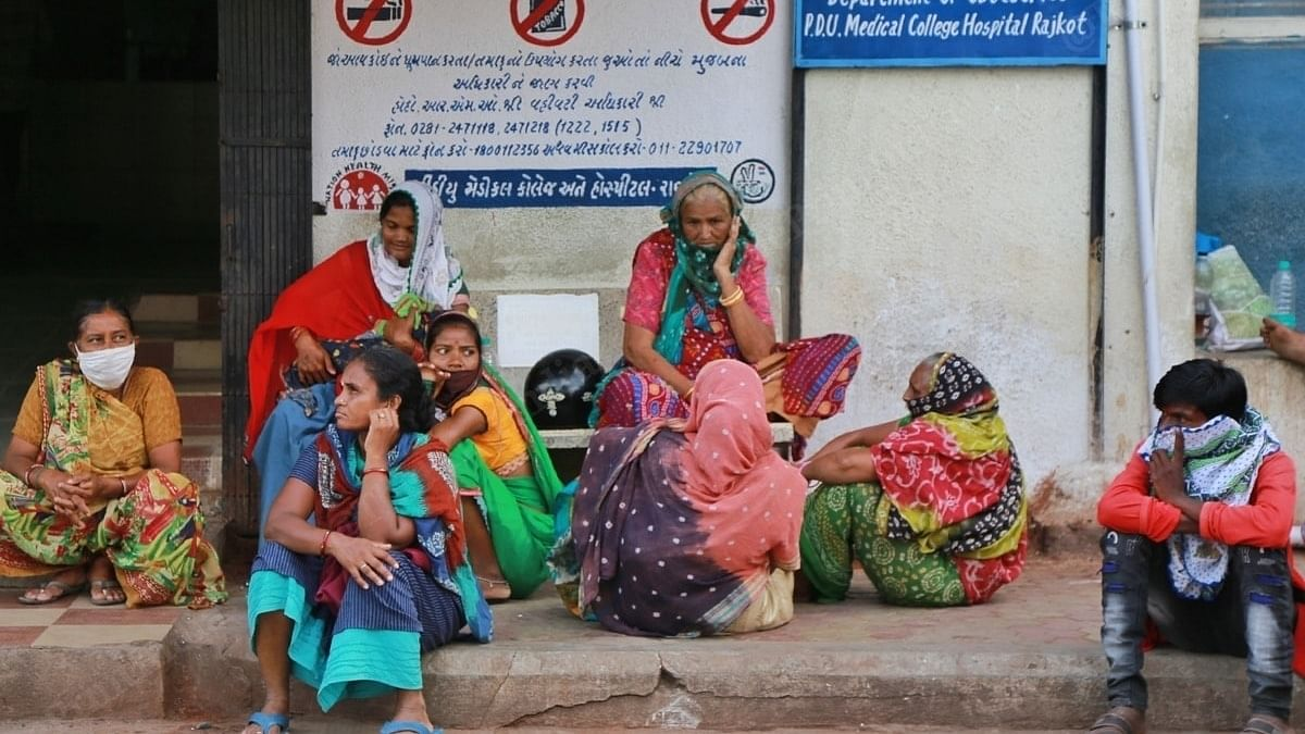 Non-Covid patients' relatives wait outside the emergency ward. | Photo: Manisha Mondal/ThePrint