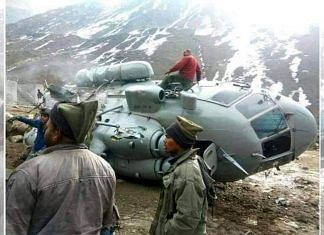 The crashed Mi-17 in Uttarakhand. Pakistanis are falsely claiming that the image is from Ladakh. | Photo: Twitter