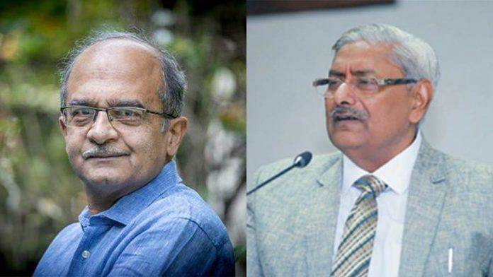 Advocate-activist Prashant Bhushan and Justice Arun Mishra (Retd) | Photo credits: Prashant Bhushan/Facebook, and ThePrint
