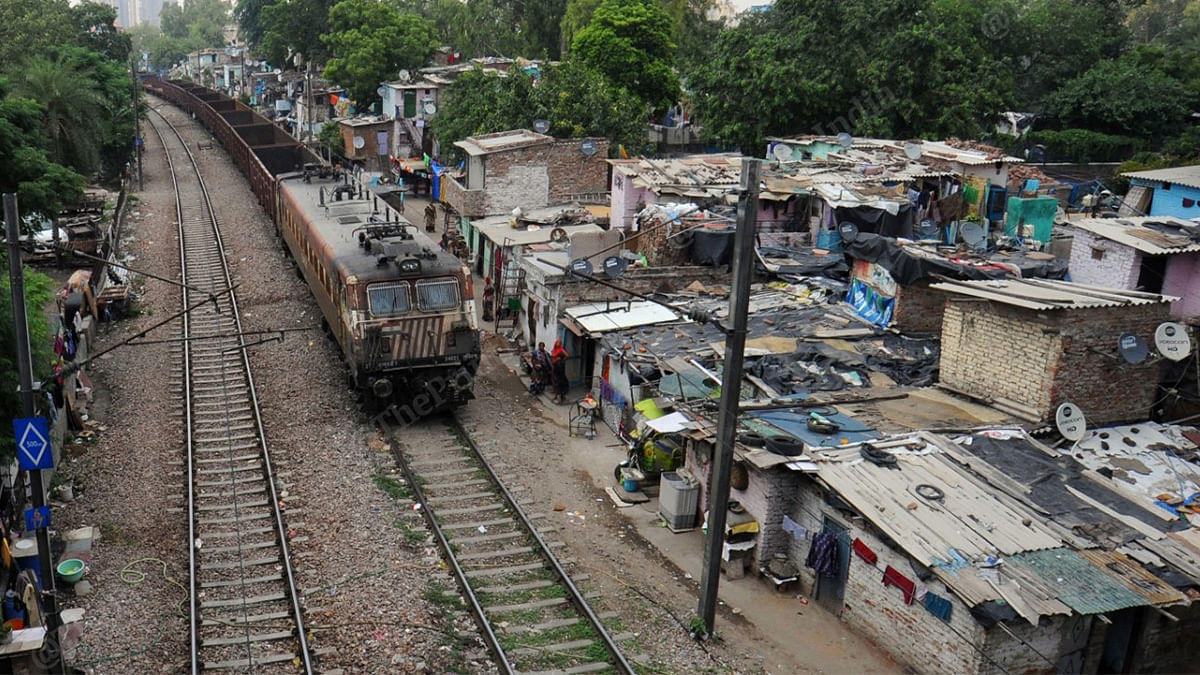 A view of the Azadpur slum area by the railway tracks | Suraj Singh Bisht | ThePrint