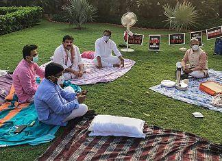Deputy Chairman of Rajya Sabha Harivansh Narayan Singh offers tea to suspended MPs on Parliament premises | PTI