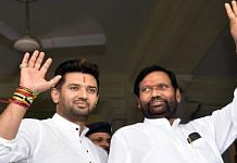 File image of the late Union minister Ram Vilas Paswan and his son, Lok Janshakti Party MP Chirag Paswan | ANI