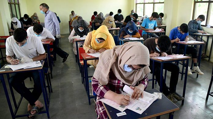 Students wear face masks to appear for the NEET in Srinagar on 13 September 2020 | ANI