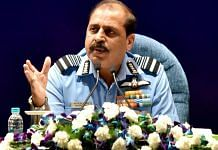 Air Chief Marshal RKS Bhadauria addresses a press conference in New Delhi Monday | ANI