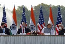 (L-R) US Defense Secretary Mark Esper, US Secretary of State Mike Pompeo, Defence Minister Rajnath Singh & External Affairs Minister S. Jaishankar at their press conference Tuesday | ANI
