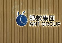 The Ant Group logo displayed at the company's headquarters in Hangzhou, China on 28 September