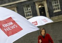 Umbrellas featuring BBC News logo in London | Photo: Simon Dawson | Bloomberg File Photo