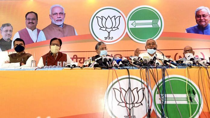 The BJP-JD(U) joint press conference in Patna on 6 October 2020 | ANI