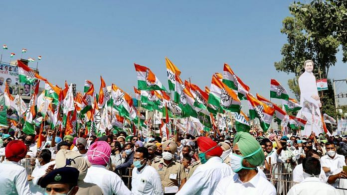 Congress supporters during a farmers rally at Bhawanigarh in Sangrur on 5 October 2020 | ANI