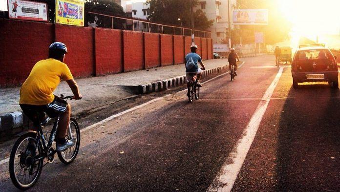 Representational image of cyclists in Delhi's Hauz Khas area | Wikimedia Commons