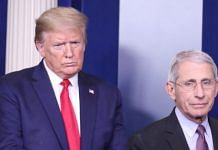 File photo of US President Donald Trump and Anthony Fauci, director of the National Institute of Allergy and Infectious Diseases, during a news conference at the White House on 22 April | Michael Reynolds | EPA via Bloomberg