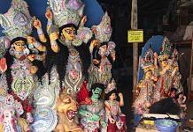 Idols get their finishing touches at C.R Park Kali Mandir   ThePrint Photo   Sravasti Dasgupta