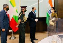 Army chief Gen. M M Naravane and Foreign Secretary Harsh Vardhan Shringla with State Counsellor Aung San Suu Kyi on 5 October | Twitter/@IndiainMyanmar