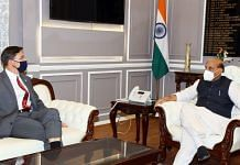 Union Defence Minister Rajnath Singh meets his US counterpart Mark Esper at his office in South Block Monday | Twitter | @rajnathsingh