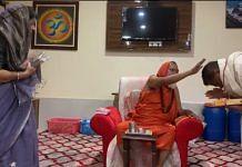 Ajit Yogi and wife Richa Jogi with the Mahant Kalyan Das at Amarkantak in Madhya Pradesh | By special arrangement