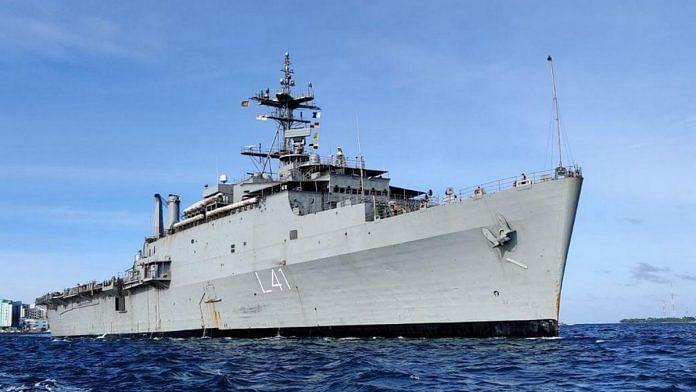 INS Jalashwa, an existing landing platform dock of the Indian Navy | Photo: PIB via Wikipedia