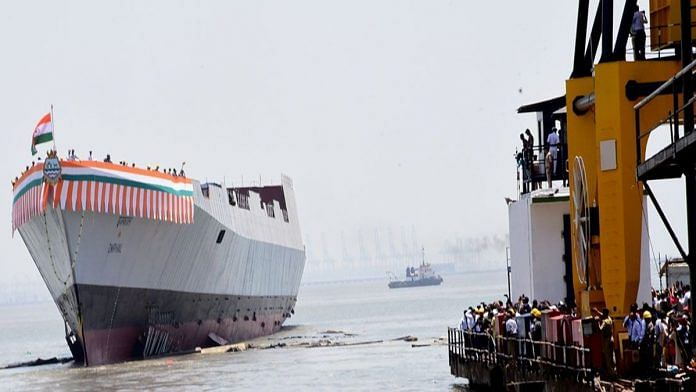 File image of Mazagon Dock Shipbuilders during the launch of the Imphal destroyer last year | Credit: mazagondock.in