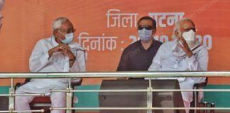 From Left to right - Bihar CM Nitish Kumar and PM Narendra Modi at a rally in Patna | Photo: Praveen Jain | ThePrint