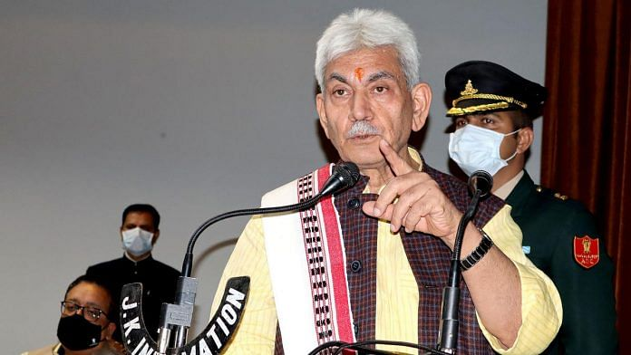 J&K Lieutenant Governor Manoj Sinha says agricultural land is reserved for farmers and no one will interfere with it | File photo: ANI