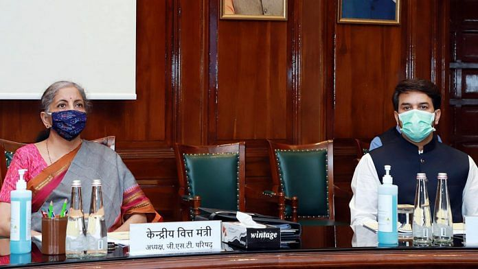 Union Finance Minister Nirmala Sitharaman and Minister of State Anurag Thakur at the GST Council meeting Monday | Photo: ANI
