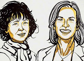 Illustration of Emmanuelle Charpentier and Jennifer Doudna | Twitter | @NobelPrize